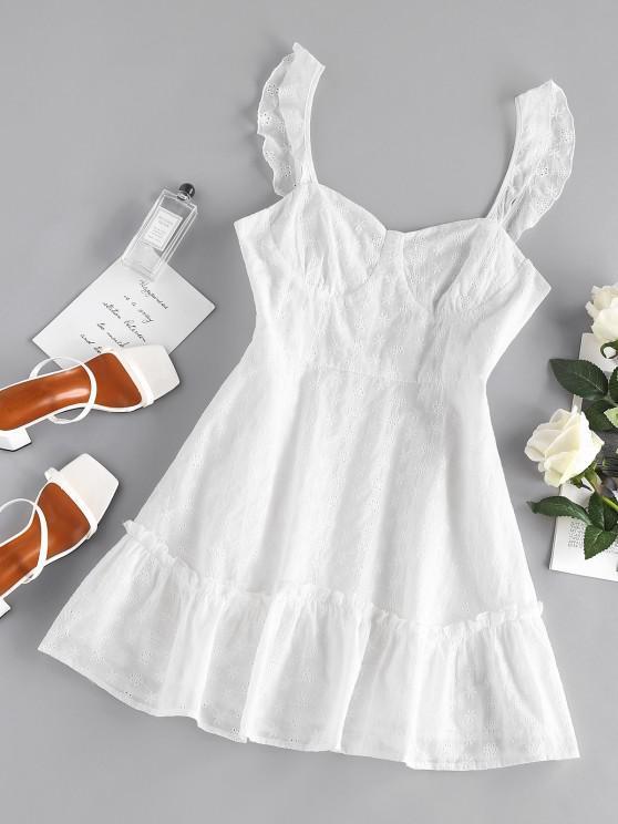 best ZAFUL Embroidered Floral Cupped Mini Dress - WHITE M