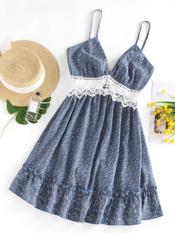 sale ZAFUL Ditsy Floral Crochet Panel Flounce Cami Dress - BLUE S