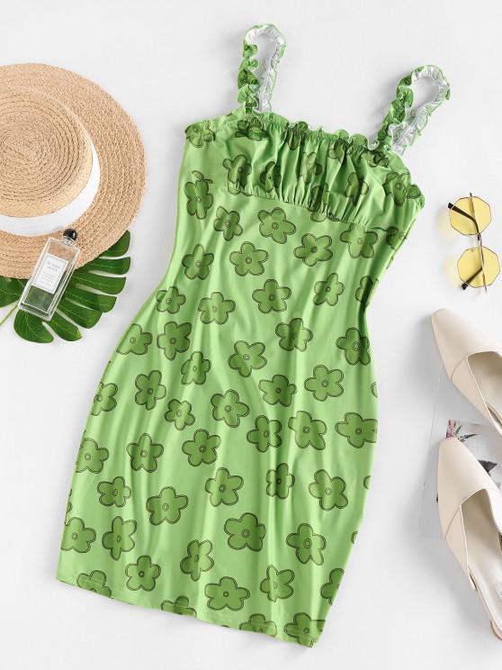 fashion ZAFUL Ruffle Floral Printed Mini Dress - LIGHT GREEN XL
