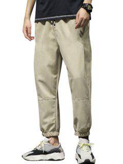 Stitching Elastic Waist Beam Feet Pants - Khaki M