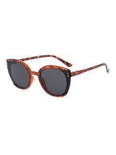 Oversized Butterfly-Frame Double Stud Sunglasses - Leopard