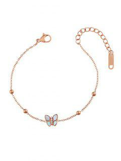 Butterfly Shell Beads Chain Bracelet - Rose Gold