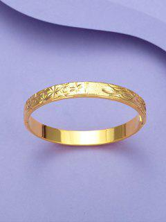 Engraved Floral Matte Bangle - Golden