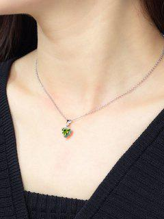 Heart Shaped Zircon Pendant Necklace - Yellow Green