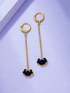 Chinese Style Lock Chain Dangle Earrings - Golden