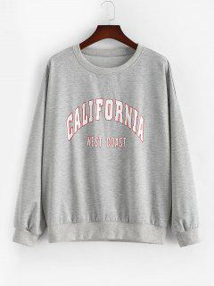ZAFUL Plus Size Crewneck California Graphic Marled Sweatshirt - Light Gray 5xl