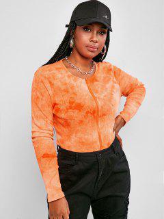 T-Shirt Taglia Forte A Costine Di Tie-Dye Con Zip - Arancione Scuro L