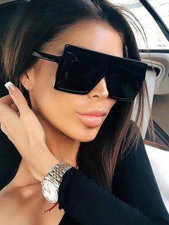 Oversize Flat-Top Square Frame Anti UV Sunglasses - Black
