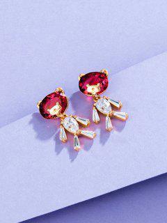 Bear Shape Zircon Inlay Earrings - Rose Gold