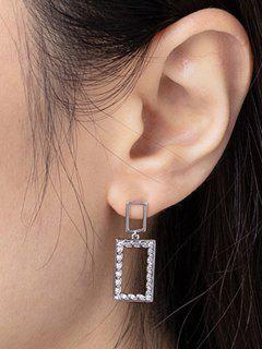 Hollow Rectangle Zircon Drop Earrings - Silver