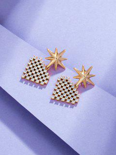 Star Heart-shaped Multi Zircon Earrings - Golden
