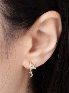 Star Moon Zircon Inlay Earrings - Golden