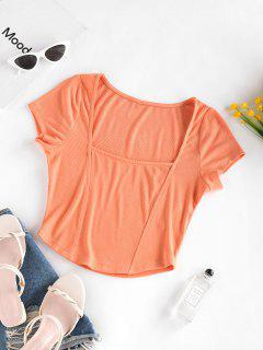 ZAFUL Ribbed Square Neck Crop Tee - Orange S