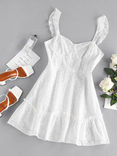 ZAFUL Embroidered Floral Cupped Mini Dress - White M