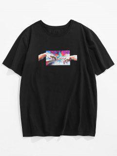 ZAFUL Hand Painting Print Short Sleeve Basic T-shirt - Black Xl