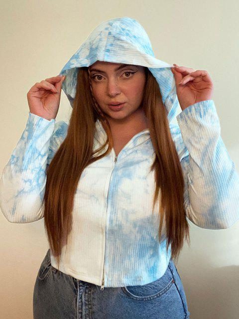 women's ZAFUL Plus Size Ribbed Tie Dye Hooded Double Way Zip Cardigan - LIGHT BLUE 3XL Mobile
