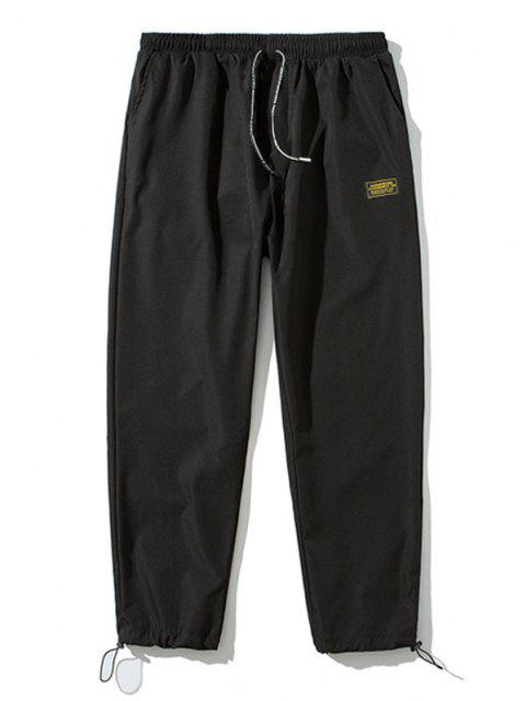 Pantalones Letra Parcheado Cintura Elástica - Negro S Mobile
