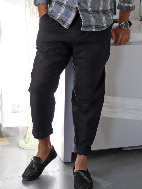 Pantalones Rectos de Bolsillo de Imitación de Color Sólido - Negro XL Mobile