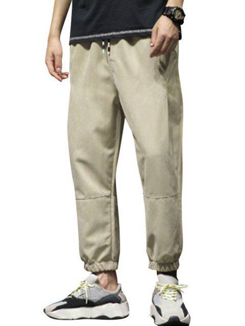 womens Stitching Elastic Waist Beam Feet Pants - KHAKI M Mobile