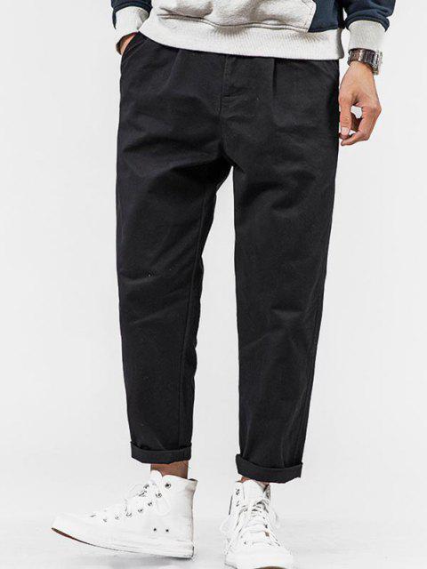 Pantalones Rectos de Bolsillo de Imitación de Color Sólido - Negro S Mobile