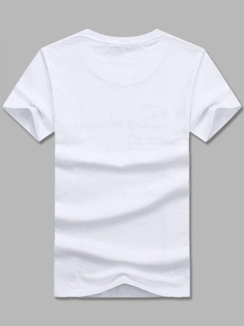 Camiseta Llana de Mangas Cortas - Blanco M Mobile