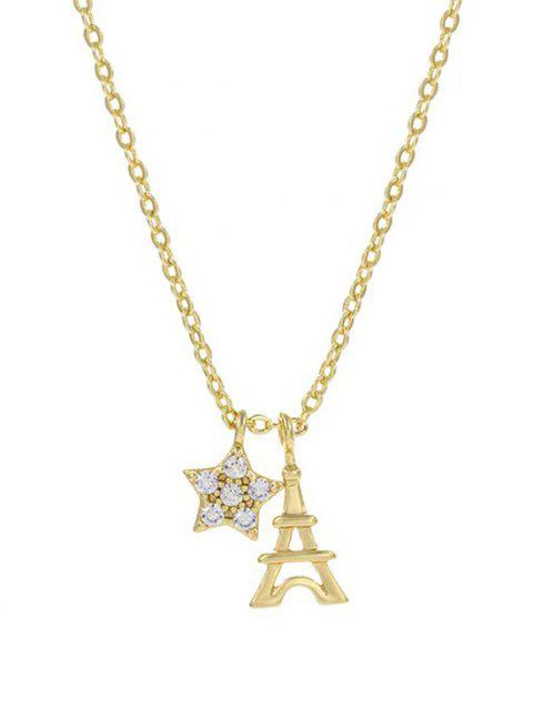 women Star Tower Pendant Necklace - GOLDEN  Mobile