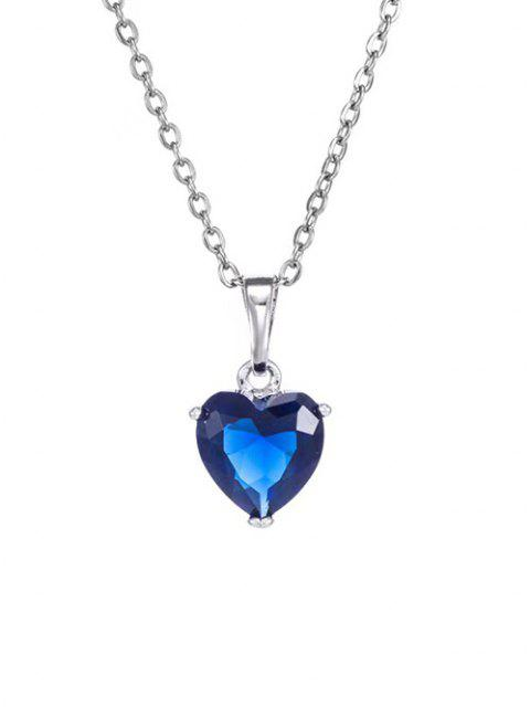 women's Heart Shaped Zircon Pendant Necklace - DEEP BLUE  Mobile