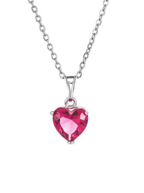 lady Heart Shaped Zircon Pendant Necklace - RUBY RED  Mobile