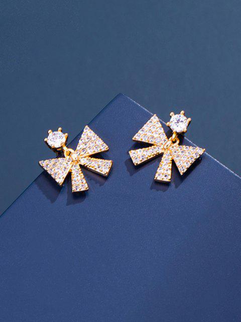 Boucles D'Oreilles Pendantes en Zircon avec Nœud Papillon - d'or  Mobile