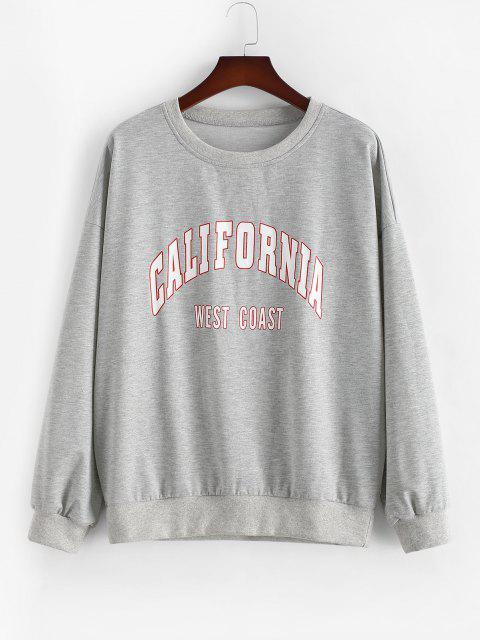 latest ZAFUL Plus Size Crewneck California Graphic Marled Sweatshirt - LIGHT GRAY L Mobile