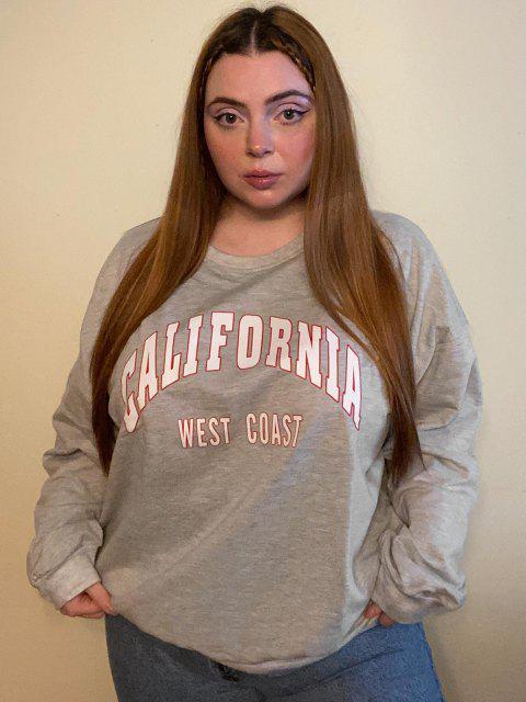 ZAFUL Sweatshirt Graphique de Grande Taille à Col Rond - Gris Clair 4XL Mobile