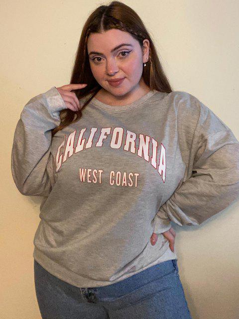 ZAFUL Sweatshirt Graphique de Grande Taille à Col Rond - Gris Clair 5XL Mobile