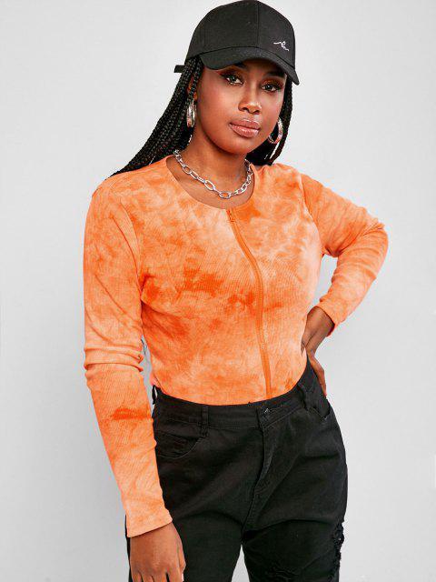 women Plus Size Tie Dye Ribbed Double Way Zip T Shirt - DARK ORANGE 1XL Mobile