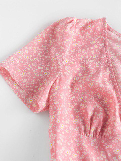 latest ZAFUL Ditsy Floral Asymmetric Bowknot Dress - LIGHT PINK S Mobile