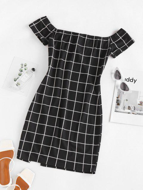 new ZAFUL Plaid Off The Shoulder Mini Dress - BLACK M Mobile