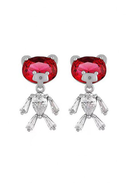shop Bear Shape Zircon Inlay Earrings - SILVER  Mobile