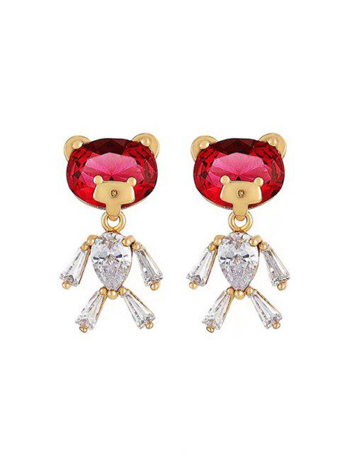 Boucles D'Oreilles en Forme D'Ours Incrusté de Zircon - Or de Rose  Mobile