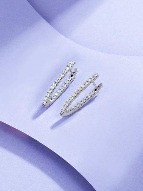 latest V Shape Zircon Earrings - SILVER  Mobile
