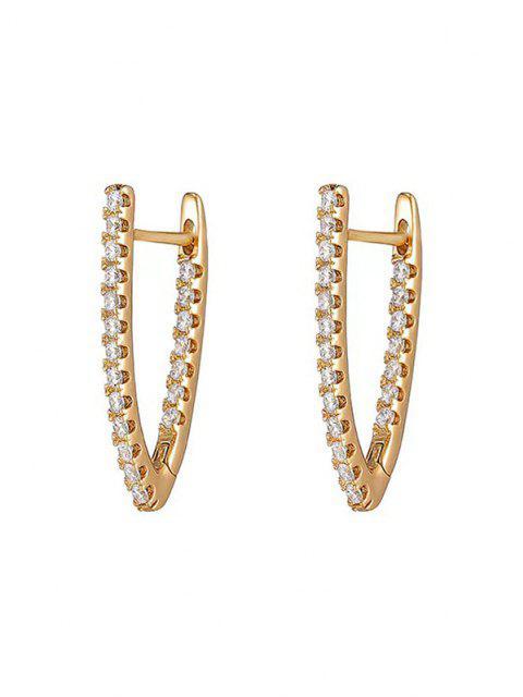 trendy V Shape Zircon Earrings - ROSE GOLD  Mobile