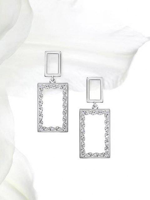 Boucles D'Oreilles Pendantes Rectangle Evidées en Zircon - Argent  Mobile