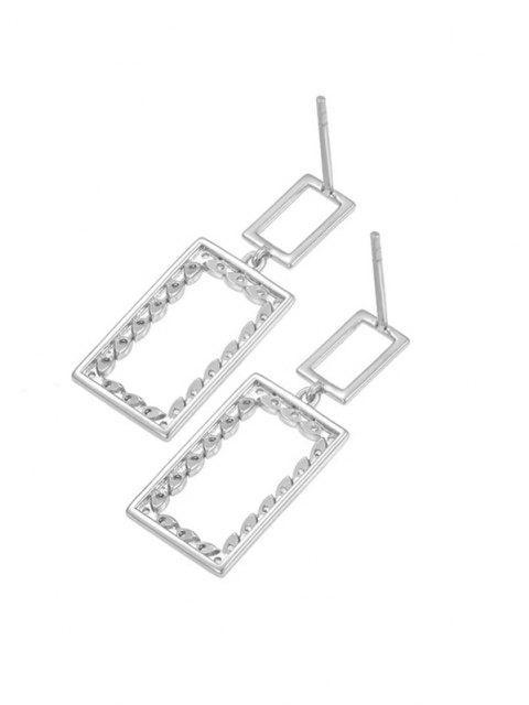 fashion Hollow Rectangle Zircon Drop Earrings - SILVER  Mobile