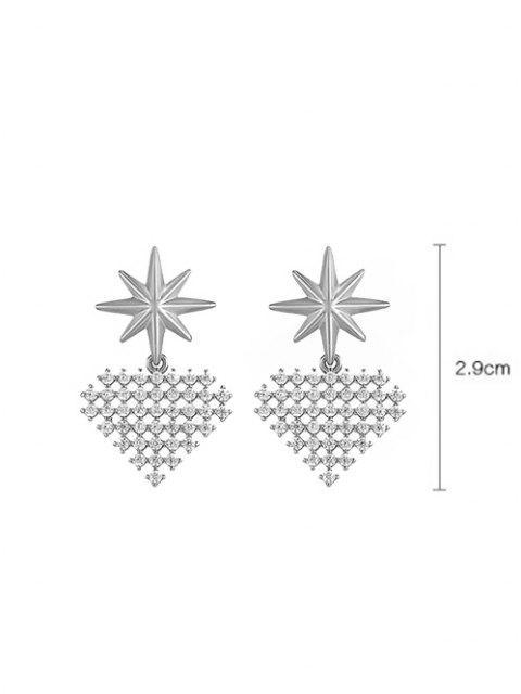 Orecchini Pendenti in Zircone a Forma di Stella e Cuore - Argento  Mobile