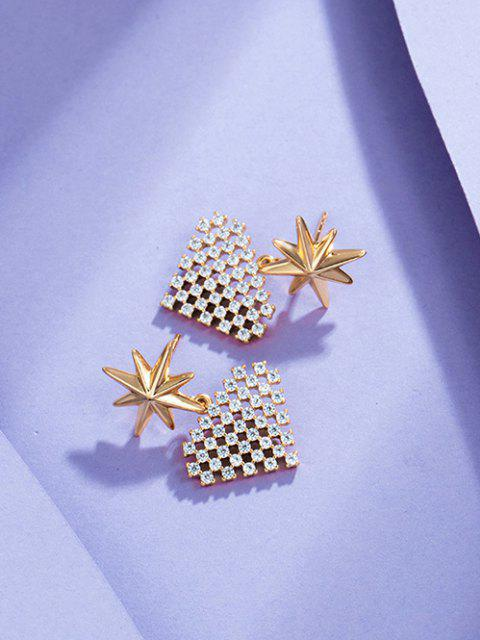 fancy Star Heart-shaped Multi Zircon Earrings - GOLDEN  Mobile
