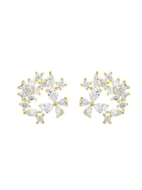 sale Zircon Inlaid Floral Stud Earrings - GOLDEN  Mobile