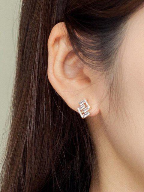 affordable Geometric Zircon Inlaid Stud Earrings - GOLDEN  Mobile