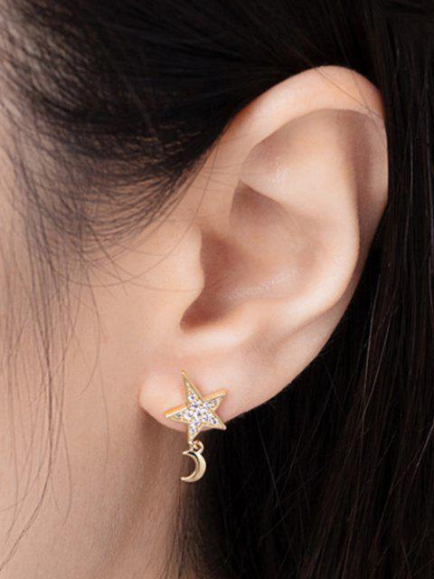 buy Star Moon Zircon Inlay Earrings - GOLDEN  Mobile