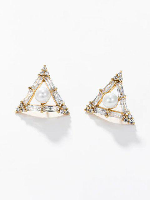 womens Triangle Faux Pearl Zircon Stud Earrings - GOLDEN  Mobile