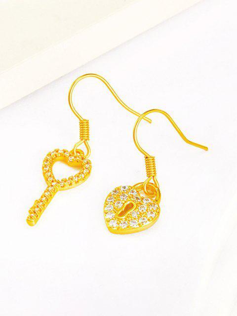 outfits Key Lock Asymmetric Drop Earrings - GOLDEN  Mobile
