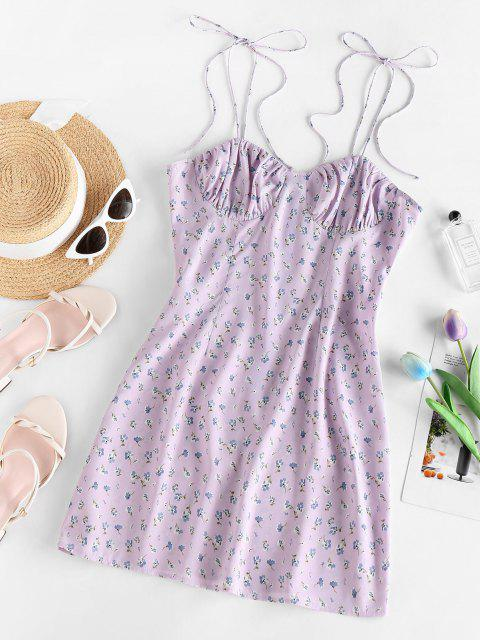 affordable ZAFUL Ditsy Floral Ruched Tied Strap Cami Dress - LIGHT PURPLE M Mobile