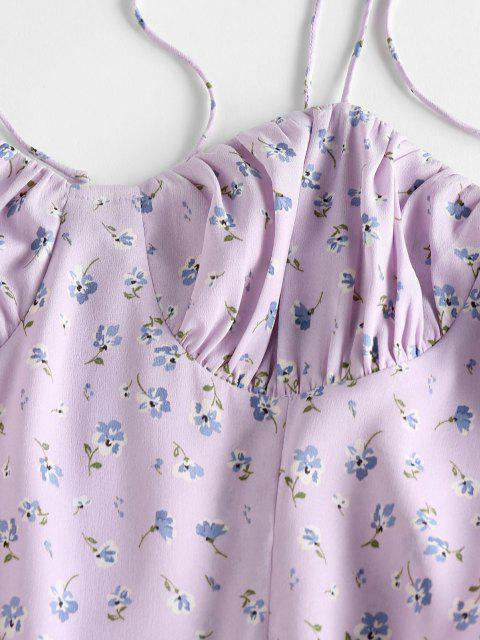 buy ZAFUL Ditsy Floral Ruched Tied Strap Cami Dress - LIGHT PURPLE S Mobile